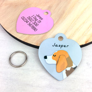 Beagle Heart Shaped Personalised Dog ID Tag