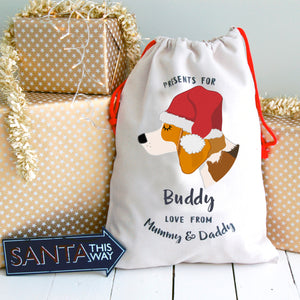 Beagle Personalised Christmas Present Sack  - Hoobynoo - Personalised Pet Tags and Gifts