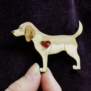 Beagle Wooden Brooch with Glitter Heart Detail