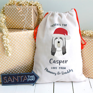 Bearded Collie Personalised Christmas Present Sack  - Hoobynoo - Personalised Pet Tags and Gifts
