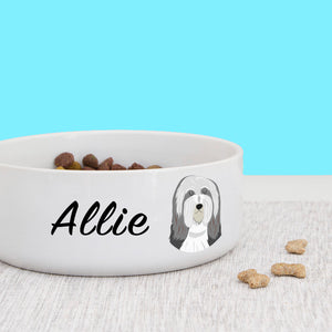 Bearded Collie Personalised Bold Ceramic Dog Bowl  - Hoobynoo - Personalised Pet Tags and Gifts