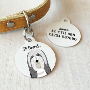 Bearded Collie Personalised name ID Tag - White  - Hoobynoo - Personalised Pet Tags and Gifts