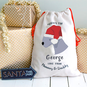 Bedlington Terrier Personalised Christmas Present Sack  - Hoobynoo - Personalised Pet Tags and Gifts