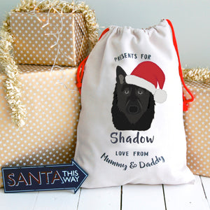Belgian Shepherd Personalised Christmas Present Sack  - Hoobynoo - Personalised Pet Tags and Gifts