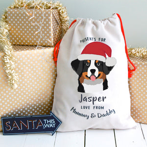 Bernese Mountain Dog Personalised Christmas Present Sack  - Hoobynoo - Personalised Pet Tags and Gifts