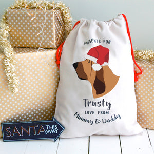 Bloodhound Personalised Christmas Present Sack  - Hoobynoo - Personalised Pet Tags and Gifts