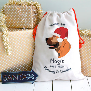 Boerboel Personalised Christmas Present Sack  - Hoobynoo - Personalised Pet Tags and Gifts