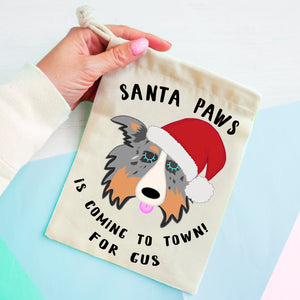 Border Collie Christmas Treat Present Bag  - Hoobynoo - Personalised Pet Tags and Gifts