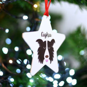 Border Collie Personalised Christmas Decoration Silver Printed