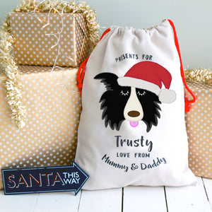 Border Collie Personalised Christmas Present Sack  - Hoobynoo - Personalised Pet Tags and Gifts