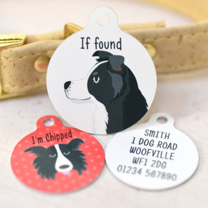 Border Collie Personalised Dog Tag