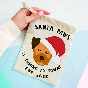 Border Terrier Christmas Treat Present Bag  - Hoobynoo - Personalised Pet Tags and Gifts