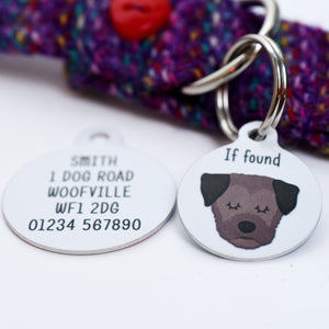 Border Terrier Personalised Dog Tag - White