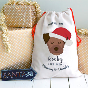 Border Terrier Personalised Christmas Present Sack  - Hoobynoo - Personalised Pet Tags and Gifts