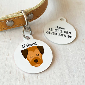 Border Terrier Personalised name ID Tag - White  - Hoobynoo - Personalised Pet Tags and Gifts