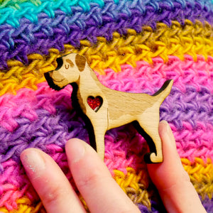 Border Terrier Brooch with Glitter Heart Detail