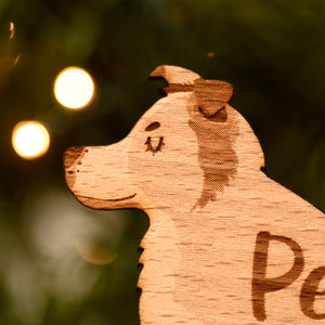 Border Collie Personalised Wooden Christmas Decoration