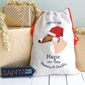 Borzoi Personalised Christmas Present Sack  - Hoobynoo - Personalised Pet Tags and Gifts