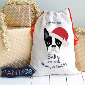 Boston Terrier Personalised Christmas Present Sack  - Hoobynoo - Personalised Pet Tags and Gifts