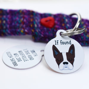 Boston Terrier Personalised Dog Tag - White
