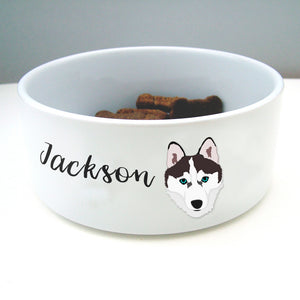 Siberian Husky Personalised Ceramic Dog Bowl