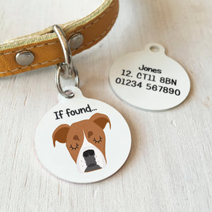 Boxer Personalised name ID Tag - White  - Hoobynoo - Personalised Pet Tags and Gifts