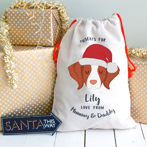 Brittany Personalised Christmas Present Sack  - Hoobynoo - Personalised Pet Tags and Gifts