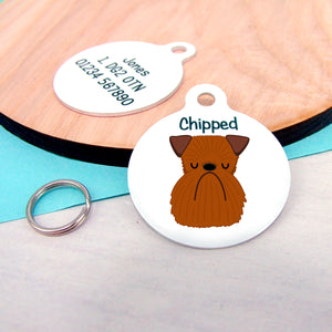Brussels Griffon Personalised name ID Tag - White  - Hoobynoo - Personalised Pet Tags and Gifts