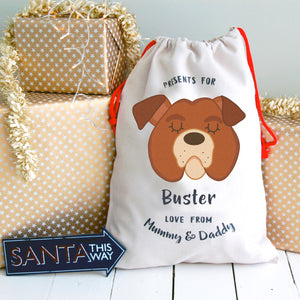 English Bulldog  Dog Treat / Christmas Sack  - Hoobynoo - Personalised Pet Tags and Gifts