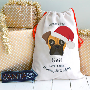 Bull Mastiff Personalised Christmas Present Sack  - Hoobynoo - Personalised Pet Tags and Gifts