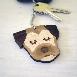 Border Terrier Wooden Keyring  - Hoobynoo - Personalised Pet Tags and Gifts
