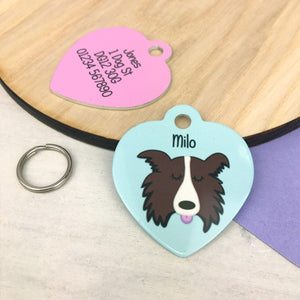 Border Collie Personalised Dog ID Tag - HEART  - Hoobynoo - Personalised Pet Tags and Gifts