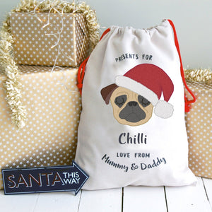 Pug Christmas Gift Sack Personalised  - Hoobynoo - Personalised Pet Tags and Gifts