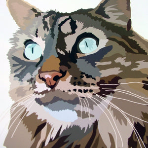 Custom Contemporary Cat Portrait  - Hoobynoo - Personalised Pet Tags and Gifts