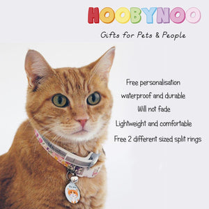 Cat Personalised name ID Tag - White  - Hoobynoo - Personalised Pet Tags and Gifts