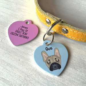 Dog ID Tag - Personalised Pet Name Tag- HEART