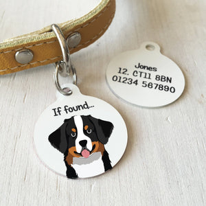 Bernese Mountain Dog Personalised name ID Tag - White  - Hoobynoo - Personalised Pet Tags and Gifts