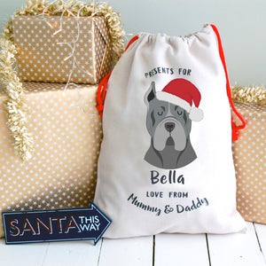 Cane Corso Personalised Christmas Present Sack  - Hoobynoo - Personalised Pet Tags and Gifts
