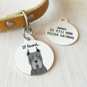 Cane Corso Personalised name ID Tag - White  - Hoobynoo - Personalised Pet Tags and Gifts