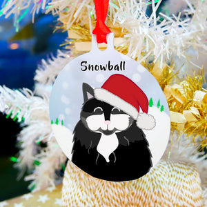 Personalised Snow Cat Christmas Decoration