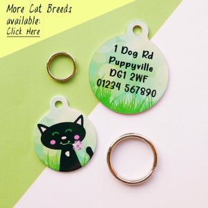 Cat ID Tag Personalised - Spring Meadow  - Hoobynoo - Personalised Pet Tags and Gifts