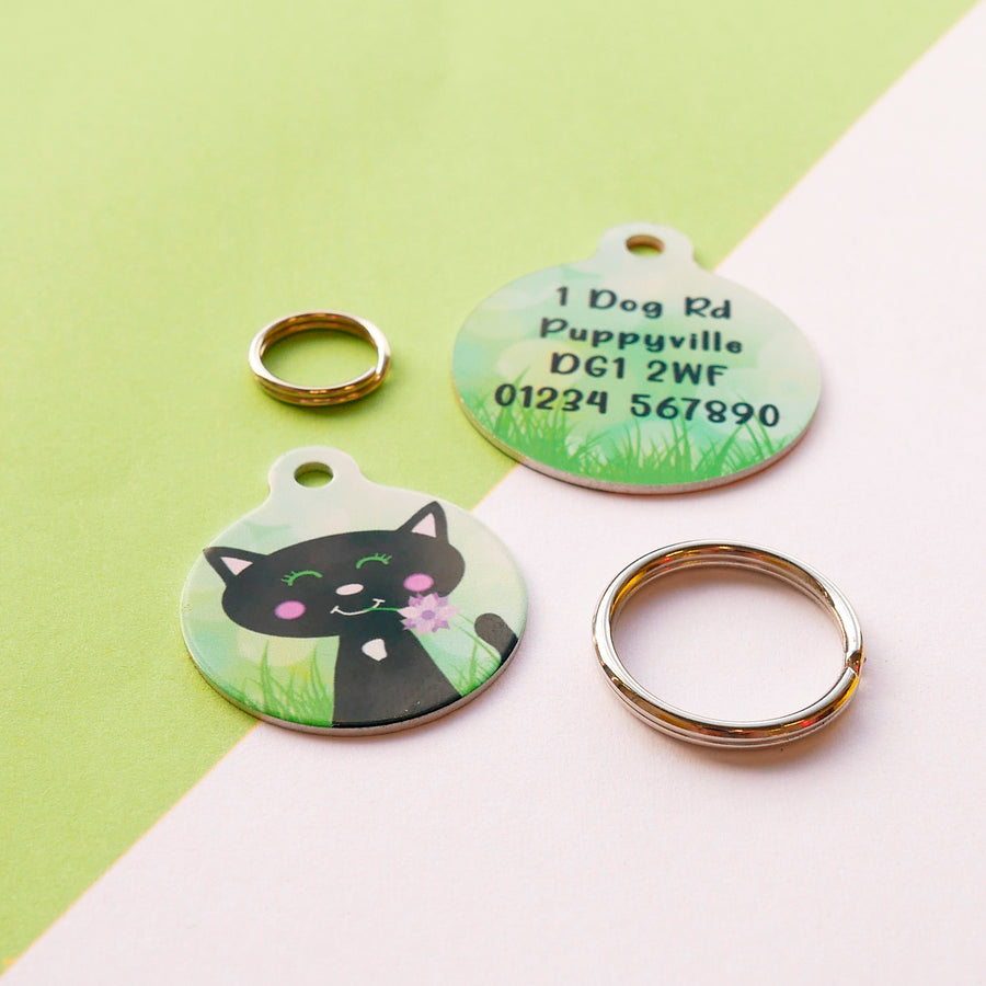 Cat ID Tag Personalised - Spring Meadow