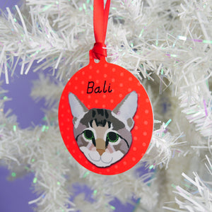 Personalised Cat Christmas Decoration - Polka Dots  - Hoobynoo - Personalised Pet Tags and Gifts