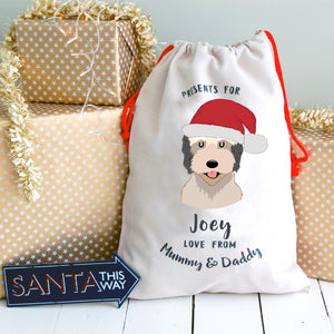 Catalan Sheepdog Personalised Christmas Present Sack  - Hoobynoo - Personalised Pet Tags and Gifts
