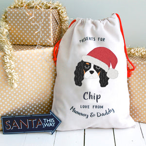 Personalised King Charles Cavalier Christmas Sack  - Hoobynoo - Personalised Pet Tags and Gifts