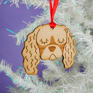 Cavalier King Charles Spaniel Wooden Christmas Decoration