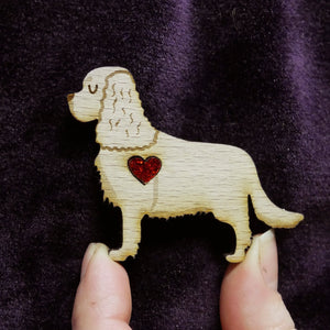 Cavalier Wooden Brooch with Glitter Heart Detail