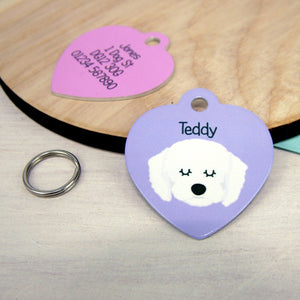 Personalised Cavapoo Dog ID Tag - HEART