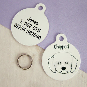 Personalised Cavapoo Dog ID Tag - Monochrome