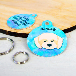 Personalised Cavapoo Dog ID Tag - Watercolour